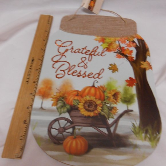 Greenbrier intl. ltd. Other - New Grateful & Blessed Rustic fall Sign mason jar